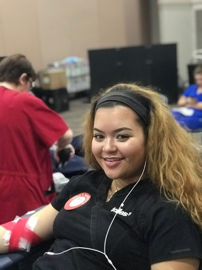 Student gives blood