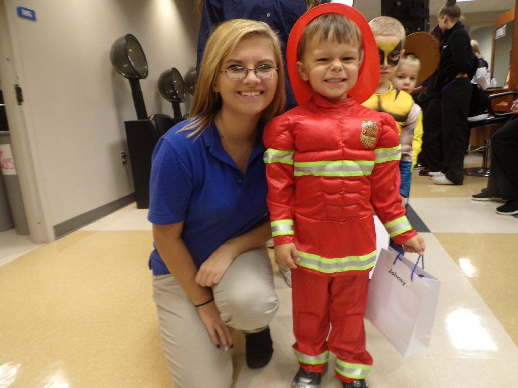 Preschooler dressed in Halloween Costume